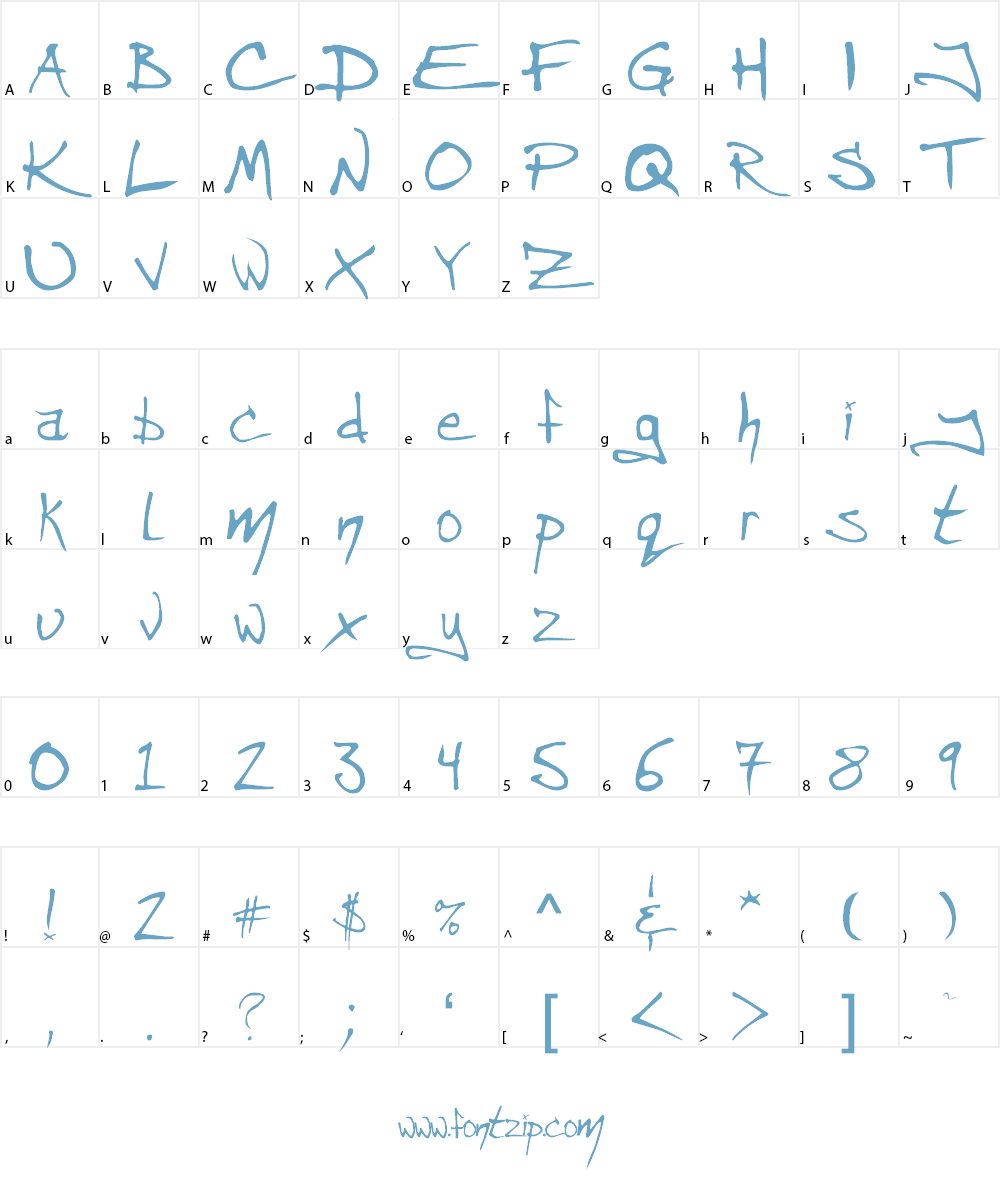 Angryblue  Controlled Font Character