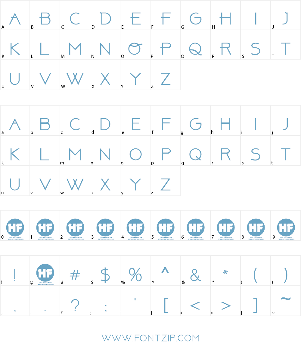 Above DEMO Font Character